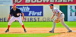 8 March 2009: Washington Nationals' first baseman Nick Johnson takes a lead of first with Nick Evans holding him on during a Spring Training game against the New York Mets at Space Coast Stadium in Viera, Florida. The Nationals defeated the Mets 8-3 in the Grapefruit League matchup. Mandatory Photo Credit: Ed Wolfstein Photo