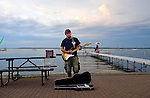 Music on the lakefront during  a summer evening at the Memorial Union on the University of Wisconsin Campus.