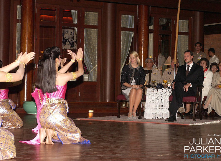 Crown Prince Haakon & Crown Princess Mette-Marit of Norway's visit to Thailand..Visit to Phra Nakhon Si Ayutthaya Province where they watched Thai dancing at Siriyalai Villa...