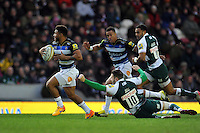 Kyle Eastmond of Bath Rugby gets past Tommy Bell of Leicester Tigers. Aviva Premiership match, between Leicester Tigers and Bath Rugby on November 29, 2015 at Welford Road in Leicester, England. Photo by: Patrick Khachfe / Onside Images