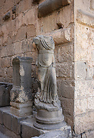 Ruins of Roman statue at the Citadel entrance. Bosra. Syria Picture by Manuel Cohen