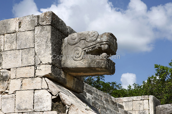 Serpent's head, at the top of The Ossuary Pyramid, 800-900 AD, Toltec Architecture, Chichen Itza, Yucatan, Mexico. This pyramid was probably used for the cremations. Picture by Manuel Cohen