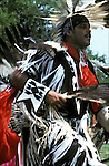 Native American dancing dressed regalia at Thunderbird Pow Wow in Queens New York