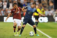 Sporting Park, Kansas City, Kansas, July 31 2013:<br /> Alessandro Florenzi (24) midfield AS Roma, Will Johnson (15) midfield MLS All-Stars .<br /> MLS All-Stars were defeated 3-1 by AS Roma at Sporting Park, Kansas City, KS in the 2013 AT &amp; T All-Star game.