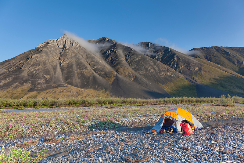 Back country tent camp along the Marsh Fork of the Canning river in the Arctic National Wildlife Refuge in the Brooks range mountains, Alaska.