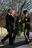 United States President Barack Obama (front L), Vice President Joe Biden (back L) and Sergeant First Class Chad E. Stackpole (R), participate in a wreath-laying ceremony at the Tomb of the Unknown Soldier in Arlington National Cemetery, Arlington, Virginia, USA, 20 January 2013..Credit: Michael Reynolds / Pool via CNP