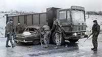 This lorry was just one of 90+ hijackings throughout N Ireland in a province-wide operation by the Provisional IRA. In this particular incident between Ballygawley and Dungannon, Co Tyrone, a motorist and his passenger died when their Triumph 2000 ploughed into the lorry blocking the road. 28th November 1973, 197311280734<br />