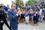 Duke coach David Cutcliffe leads the team during the Blue Devil Walk as fans cheer on. Duke faculty and staff helped cheer on the Blue Devils during the Employee Kickoff Celebration and season opener against North Carolina Central University. Duke won the game 49-6 at the newly renovated Brooks Field at Wallace Wade Stadium.
