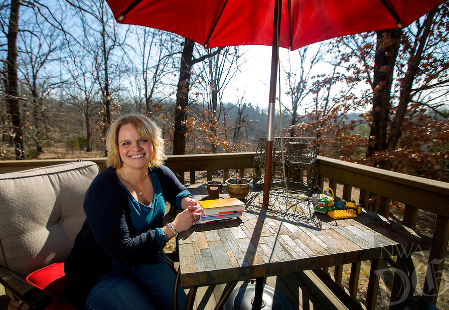 NWA Democrat-Gazette/JASON IVESTER --01/23/2015--<br /> Rhonda Franz; photographed on Friday, Jan. 23, 2015, in her favorite place -- the back deck of her Lowell home
