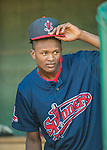 24 August 2016: Lowell Spinners outfielder and Baseball America Top Prospect Yoan Aybar looks out of the dugout prior to a game against the Vermont Lake Monsters at Centennial Field in Burlington, Vermont. The Lake Monsters defeated the Spinners 5-3 in NY Penn League action. Mandatory Credit: Ed Wolfstein Photo *** RAW (NEF) Image File Available ***