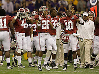 Alabama defensive back Jabriel Washington and his teammates celebrate after a big play during BCS National Championship game against LSU at Mercedes-Benz Superdome in New Orleans, Louisiana on January 9th, 2012.   Alabama defeated LSU, 21-0.