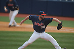 Ole Miss' Brett huber (38) pitches vs. Lipscomb at Oxford-University Stadium in Oxford, Miss. on Saturday, March 9, 2013. Ole Miss won 8-5. The win was the 486th for Mike Bianco as the Rebel head coach, making him the university's all time winningest baseball coach.