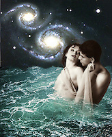 In Love with a Mermaid #1 - fantasy art, a couple in love standing in a sea. Two galaxies rotating above them.