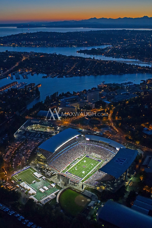 This photo was taken on Opening Night at the new Husky Stadium, during the game against the Boise State Broncos on August 31, 2013.<br /> <br /> This image is available as a Limited Edition metallic print measuring 12&quot; x 18&quot; (select the metallic print from the price options when you add to cart).  You may also purchase smaller lustre prints or license it for commercial use.<br /> <br /> *If you are interested in a large limited edition (of 10) aluminum print measuring 16&quot; x 24&quot;, please contact me.<br /> <br /> **No, the watermark will not appear on the final image!