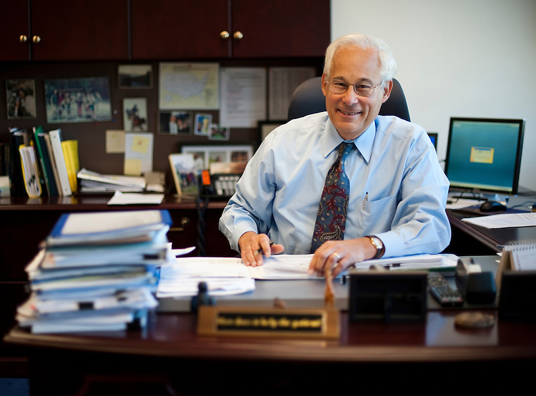 UNITED STATES - OCTOBER 6: Centers for Medicare and Medicaid Services Administrator Donald  Berwick poses in his office on Thursday, Oct. 6, 2011. (Photo By Bill Clark/CQ Roll Call)