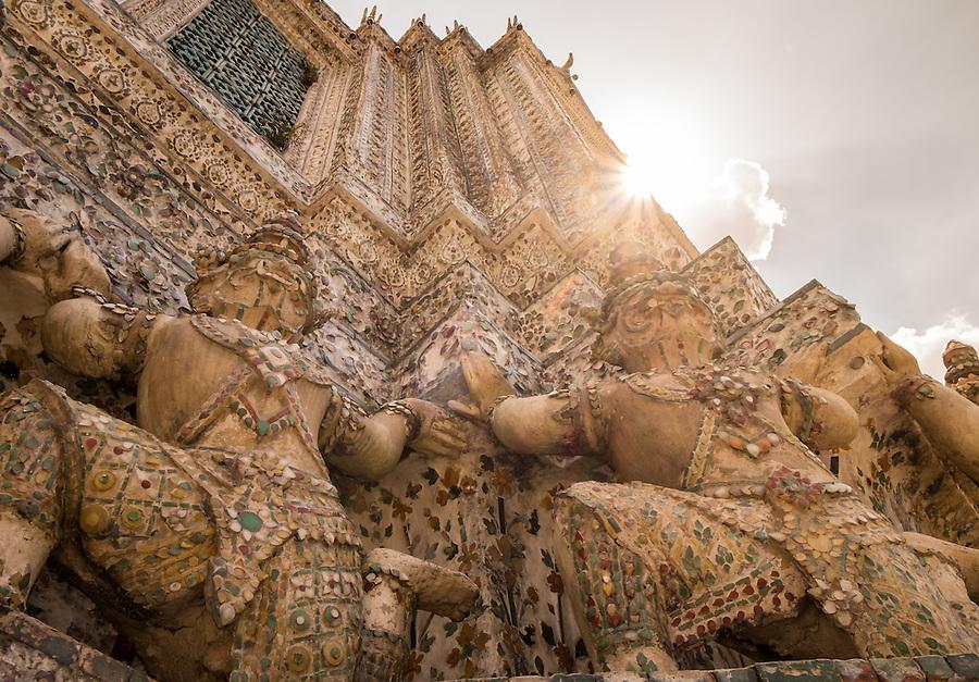 BANGKOK, THAILAND - CIRCA SEPTEMBER 2014: Detail view of Wat Arun, a popular Buddhist temple in Bangkok Yai district of Bangkok, Thailand, on the Thonburi west bank of the Chao Phraya River
