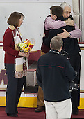 Joe Macri (BC - Student Manager) and parents - The visiting University of Notre Dame Fighting Irish defeated the Boston College Eagles 2-1 in overtime on Saturday, March 1, 2014, at Kelley Rink in Conte Forum in Chestnut Hill, Massachusetts.