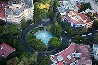 Plaza Citlatepetle, La Condesa. Aerial photos of Mexico City, Mexico