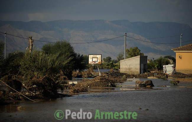 View of a flooded street taken in Lorca, near Murcia, southeastern Spain, on September 30, 2012 after heavy rainfall. Ten people in total have died in Spain in the regions of Andalusia and Murcia due to flash flooding brought on by downpours. The heavy rains have also damaged homes, caused the collapse of two bridges and forced roads to close. Ten people in total have died in Spain in the regions of Andalusia and Murcia due to flash flooding brought on by downpours. The heavy rains have also damaged homes, caused the collapse of two bridges and forced roads to close. . (c) Pedro ARMESTRE