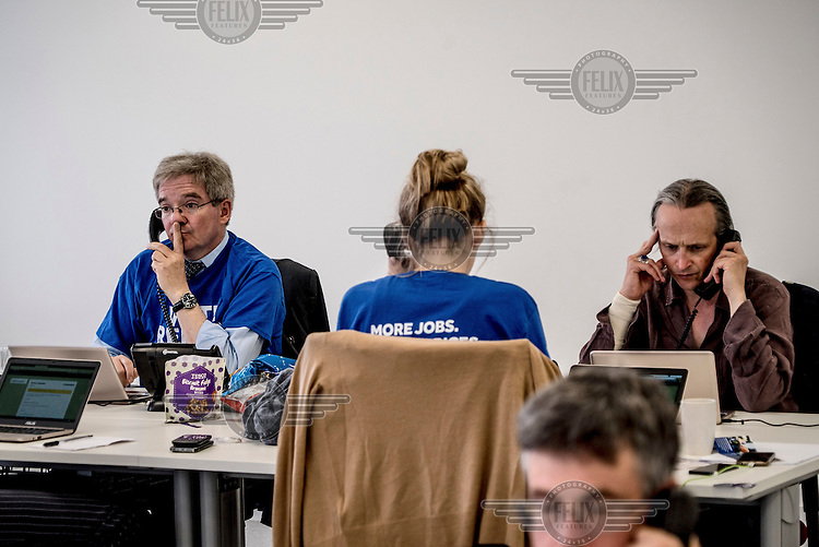 Volunteers operate the phones for the Remain (in the EU) campaign in their offices in Canary Wharf on the day of the EU referendum.