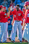 28 February 2017: Washington Nationals outfielder Michael Taylor is all smiles after hitting a walk-off, game winning home run in the 9th inning of the inaugural game against the Houston Astros at the Ballpark of the Palm Beaches in West Palm Beach, Florida. Mandatory Credit: Ed Wolfstein Photo *** RAW (NEF) Image File Available ***