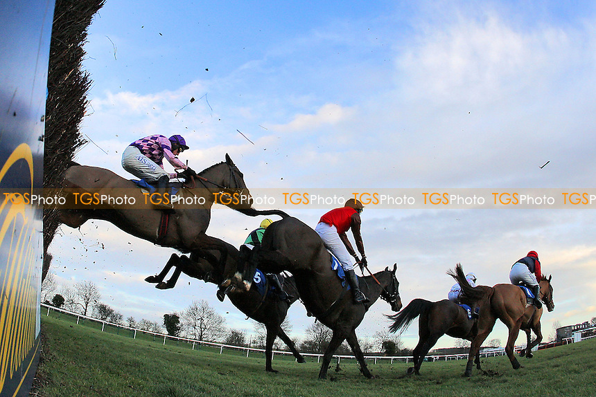The field in jumping action during the Connolly's Red Mills Horsecare Novice's Handicap Chase at Huntingdon Racecourse, Brampton, Cambridgeshire - 27/01/12 - MANDATORY CREDIT: Gavin Ellis/TGSPHOTO - Self billing applies where appropriate - 0845 094 6026 - contact@tgsphoto.co.uk - NO UNPAID USE.