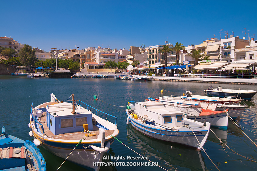 Boats on lake Voulismeni in Agios Nikolaos, Crete