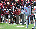 Arkansas Coach John L. Smith reacts to a penalty that negates a touchdown against Ole Miss at War Memorial Stadium in Little Rock, Ark. on Saturday, October 27, 2012. Ole Miss won 30-27...
