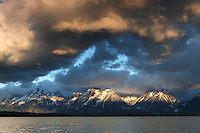 Jackson Lake with Teton Mountain Range at sunrise, Grand Teton National Park, Wyoming, USA.