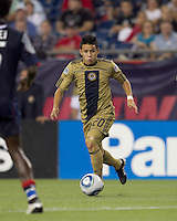 Philadelphia Union midfielder Roger Torres (20) dribbles. The Philadelphia Union defeated New England Revolution, 2-1, at Gillette Stadium on August 28, 2010.