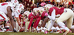 The FSU defense lines up against NC State when the Florida State Seminoles defeated the North Carolina State Wolfpack 49-17 in their NCAA football game  in Tallahassee, Florida.