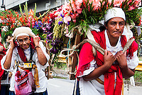 People take part during the 58th Silleteros' parade in the framework of the flowers' fair, this year the parade was declared intangible heritage of Colombia. Medellín, Colombia 09/08/2015
