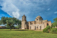 This is another view of the of the historic Mission San Jose y San Miguel de Aguayo a Catholic mission in San Antonio. This is one of the many mission built back in the 1700s that have been well preserved and or still functioning as a church today. This historic landmark was a spanish mission community which was design to convert the indians of the area to the catholic religion. These missions are now part of the world heritage site, along with the San Antonio Missions National historic Park. These mission are visited by many tourist and they have become a travel destination for many who visit San Antonio. Watermark will not appear on image