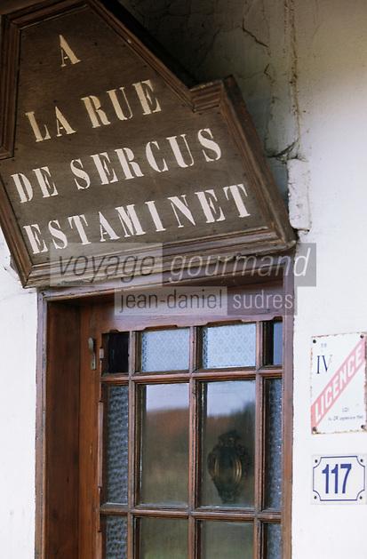 """Europe/France/Nord-Pas-de-Calais/59/Nord/Flandre/Morbecque: Estaminet de la rue de Sercus """"Chez Jacqueline"""" - Détail de l'enseigne"""