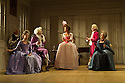 THE SCHOOL FOR SCANDAL opens the Theatre Royal Bath's summer season of new in-house productions, overseen by leading guest director, Jamie Lloyd. Picture shows:  Timothy Speyer (Servant), Serena Evans (Lady Sneerwell), Grant Gillespie (Sir Benjamin Backbite),Susannah Fielding (Lady Teazle), Edward Bennett (Joseph Surface), David Killick (Crabtree), Maggie Steed (Mrs Candour).