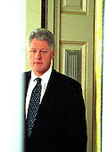 United States President Bill Clinton walks to the podium to make his statement in the Rose Garden of the White House in Washington, D.C. following his acquittal by the U.S. Senate on 12 February 12, 1999..Credit: Arnie Sachs / CNP