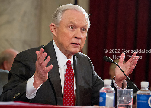 United States Senator Jeff Sessions (Republican of Alabama) answers senator's questions as he testifies during the US Senate Judiciary Committee confirmation hearing on his nomination to be Attorney General of the United States on Capitol Hill in Washington, DC on Tuesday, January 10, 2017.<br /> Credit: Ron Sachs / CNP
