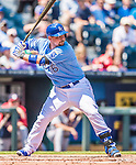 25 August 2013: Kansas City Royals designated hitter Billy Butler in action against the Washington Nationals at Kauffman Stadium in Kansas City, MO. The Royals defeated the Nationals 6-4, to take the final game of their 3-game inter-league series. Mandatory Credit: Ed Wolfstein Photo *** RAW (NEF) Image File Available ***