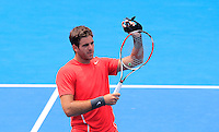 Juan Martin del Potro of Argentina gestures after defeating Radek Stepanek of Czech Republic during their men's singles match at the Sydney International tennis tournament, Jan. 9, 2014.  Daniel Munoz/Viewpress IMAGE RESTRICTED TO EDITORIAL USE ONLY