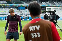 Steven Gerrard of England looks dejected in front of the worlds media