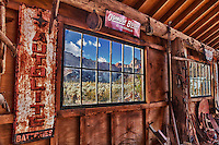 Barn Interior And Old Pane Glass Window View - Eldorado Canyon - Nelson NV - HDR