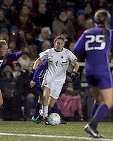 "Boston College forward Victoria DiMartino (1) dribbles. In overtime, Boston College defeated University of Washington, 1-0, in NCAA tournament ""Elite 8"" match at Newton Soccer Field, Newton, MA, on November 27, 2010."