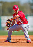 4 March 2016: St. Louis Cardinals infielder Jacob Wilson warms up prior to a Spring Training pre-season game against the Houston Astros at Osceola County Stadium in Kissimmee, Florida. The Cardinals fell to the Astros 6-3 in Grapefruit League play. Mandatory Credit: Ed Wolfstein Photo *** RAW (NEF) Image File Available ***