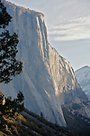 Winter scenes in Yosemite Valley located in the Yosemite National Park..El Capitan in the morning light from the Tunnel View area..El Capitan is the largest piece of granite in the park. .It is 7569ft, 2307m, tall and was carved by a giant glacier over 100 million years ago.
