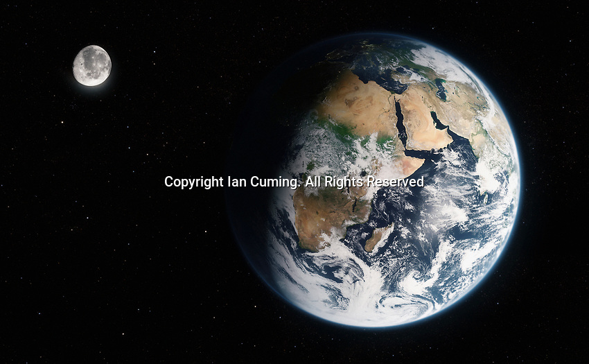 Digitally manipulated image of Africa, the Middle East and the Indian Ocean from space
