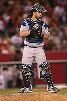 06/08/11 Anaheim, CA: Tampa Bay Rays catcher Kelly Shoppach #10 during an MLB game between the Tampa Bay Rays and The Los Angeles Angels  played at Angel Stadium. The Rays defeated the Angels 4-3 in 10 innings