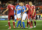 Aberdeen v St Johnstone&hellip;22.09.16.. Pittodrie..  Betfred Cup<br />Steven Anderson battles with Ash Taylor in the box<br />Picture by Graeme Hart.<br />Copyright Perthshire Picture Agency<br />Tel: 01738 623350  Mobile: 07990 594431