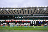The Cambridge University team line up for the national anthem. The Varsity Match between Oxford University and Cambridge University on December 10, 2015 at Twickenham Stadium in London, England. Photo by: Patrick Khachfe / Onside Images