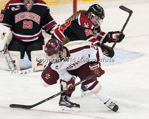 Maggie Brennolt (NU - 22), Kate Leary (BC - 28) - The Boston College Eagles defeated the Northeastern University Huskies 3-0 on Tuesday, February 11, 2014, to win the 2014 Beanpot championship at Kelley Rink in Conte Forum in Chestnut Hill, Massachusetts.