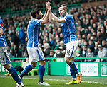 Celtic v St Johnstone...23.01.16   SPFL  Celtic Park, Glasgow<br /> Steven MacLean celebrates his goal with Simon Lappin<br /> Picture by Graeme Hart.<br /> Copyright Perthshire Picture Agency<br /> Tel: 01738 623350  Mobile: 07990 594431